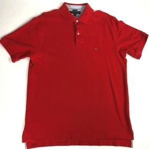 Red Tommy Hilfiger Polo Shirt Size (L)